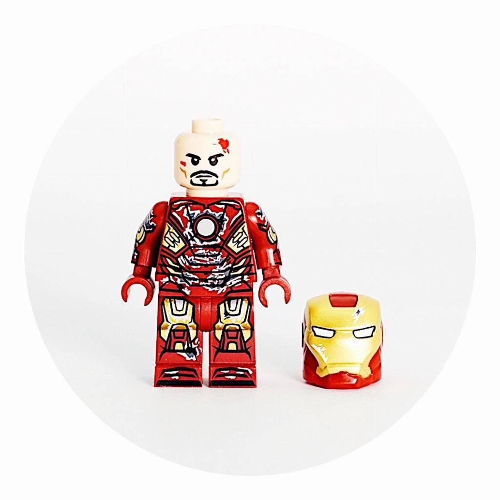 Custom Lego Invincible Iron Man Blue Minifigure Pad Printing By Brick Mode